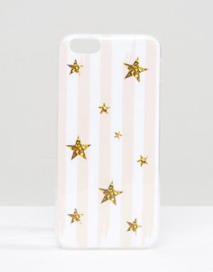 SIGNATURE Чехол для iPhone 6 с полосками и блестящими звездами. Цвет: розовый