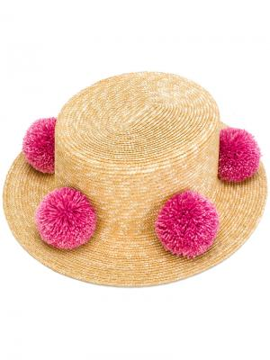 Шляпа с помпонами Eshvi. Цвет: телесный
