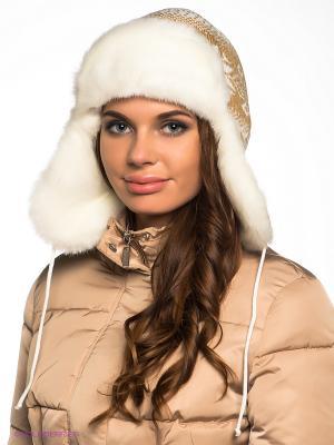 Шапка-ушанка Ваша Шляпка. Цвет: коричневый, белый