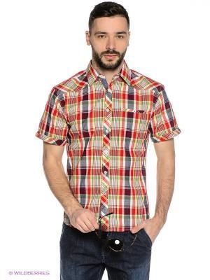 Рубашка Mavango. Цвет: оранжевый, черный, красный