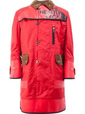 Двубортное пальто с принтом Junya Watanabe Comme Des Garçons Man. Цвет: красный