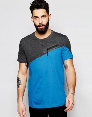 Addict Асимметричная футболка. Цвет: синий