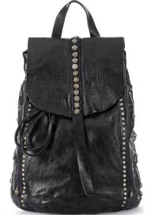 Черный кожаный рюкзак с декором Campomaggi. Цвет: черный