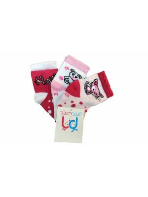 Носки, 3 пары PERA MAYA. Цвет: белый, красный, розовый