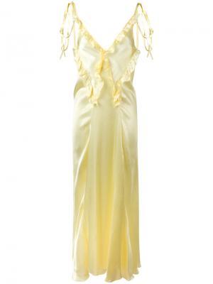 Длинное платье с рюшами Attico. Цвет: жёлтый и оранжевый