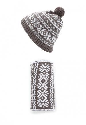 Комплект шапка и шарф Fete. Цвет: коричневый