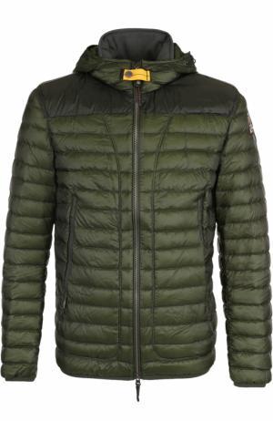 Стеганая куртка на молнии с капюшоном Parajumpers. Цвет: темно-зеленый