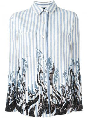 Рубашка с пайетками Filles A Papa. Цвет: синий