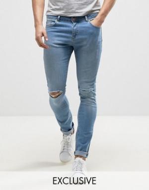 Brooklyn Supply Co. Супероблегающие голубые джинсы с потертостями Co. Цвет: синий