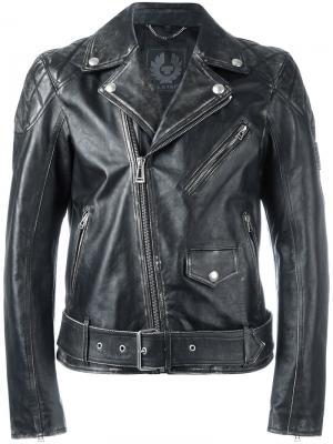 Байкерская куртка с эффектом потертости Belstaff. Цвет: чёрный
