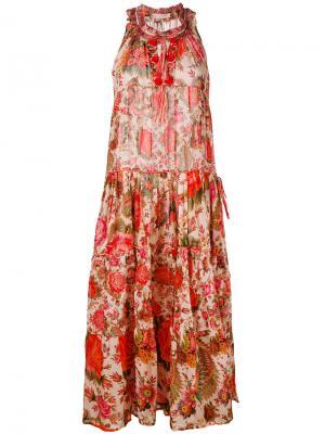 Платье с цветочным принтом Anjuna. Цвет: красный