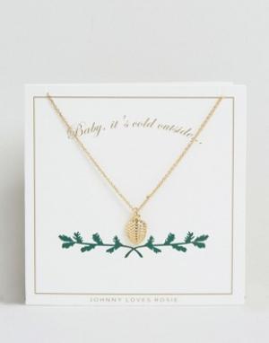 Johnny Loves Rosie Золотистое ожерелье с подвеской в виде сосновой шишки Ros. Цвет: золотой