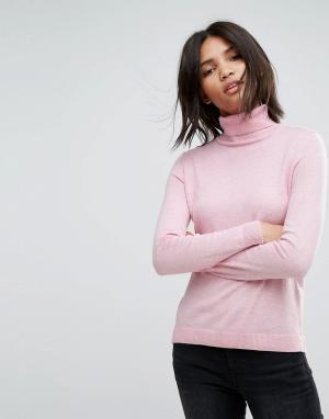 Esprit Легкий трикотажный джемпер с воротником поло. Цвет: розовый