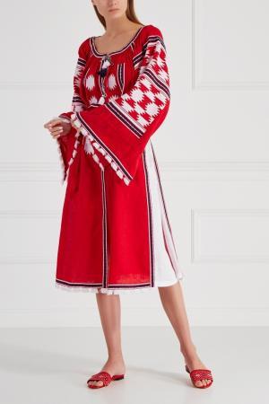 Льняное платье Stardust Vita Kin. Цвет: красный