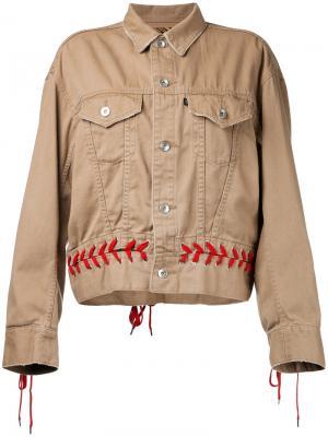 Куртка с контрастной шнуровкой G.V.G.V.. Цвет: коричневый