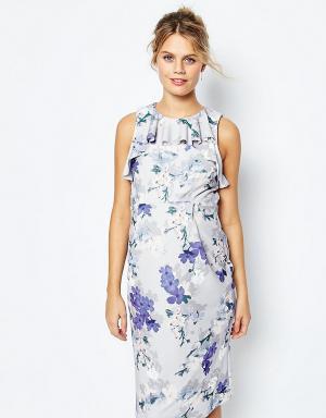 ASOS Maternity Платье-футляр для беременных с цветочным принтом и оборкой Matern. Цвет: мульти
