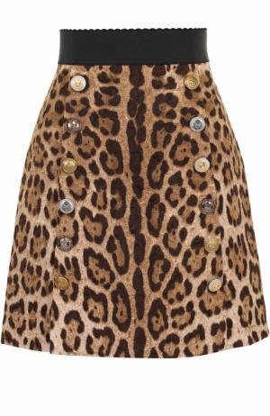 Мини-юбка А-силуэта с леопардовым принтом Dolce & Gabbana. Цвет: леопардовый