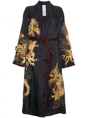 Пальто-кимоно с вышитым драконом Ashish. Цвет: чёрный