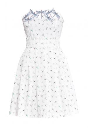 Платье из хлопка с поясом 159705 Cristina Effe. Цвет: разноцветный