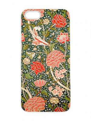 Чехол для iPhone 5/5s Оранжевые цветы на зеленом Арт. IP5-263 Chocopony. Цвет: зеленый, хаки, оранжевый, белый