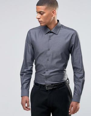 Number Eight Savile Row Строгая рубашка скинни в елочку. Цвет: серый