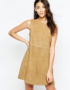 Muubaa Замшевое цельнокройное платье мини Emdem. Цвет: коричневый