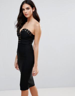 Rare Облегающее платье со шнуровкой. Цвет: черный