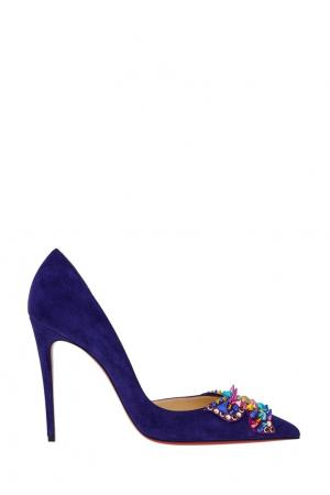 Замшевые туфли Farfaclou 100 Christian Louboutin. Цвет: синий