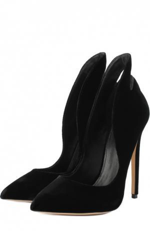 Бархатные туфли Pizo на шпильке Aleksandersiradekian. Цвет: черный
