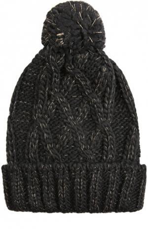 Шапка фактурной вязки с помпоном Deha. Цвет: черный