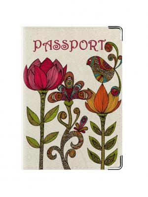 Обложка для паспорта Flowers Tina Bolotina. Цвет: светло-серый, красный, зеленый