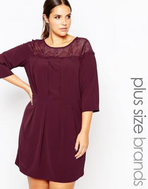 Carmakoma Короткое приталенное платье с прозрачной вставкой. Цвет: красный