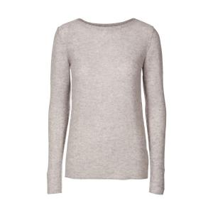 Пуловер из тонкого трикотажа шерсти и кашемира AND LESS. Цвет: серый меланж