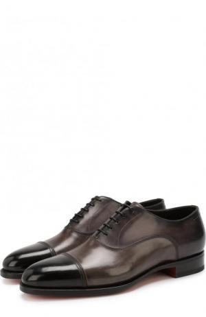 Классические кожаные оксфорды Santoni. Цвет: серый