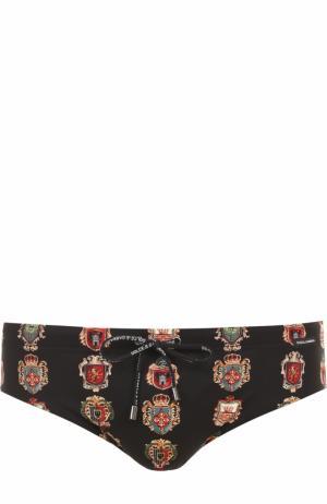 Плавки с принтом Dolce & Gabbana. Цвет: черный