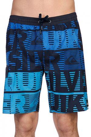 Шорты пляжные  Comp Word Stripe Volley Ea19 Cyan Quiksilver. Цвет: синий,черный