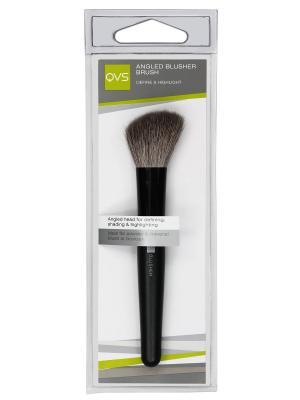Скошенная кисть для румян QVS. Цвет: черный, светло-коричневый, серебристый