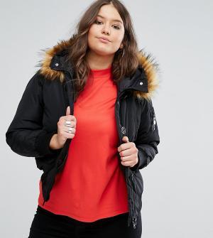 Koko Куртка с меховой отделкой на капюшоне Plus. Цвет: черный