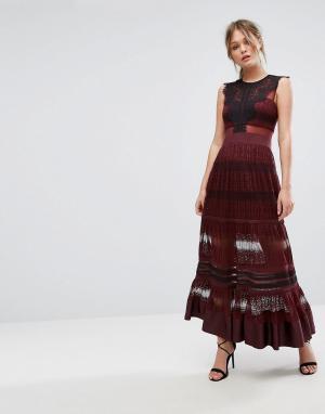 Three Floor Кружевное платье макси с прозрачными вставками. Цвет: красный