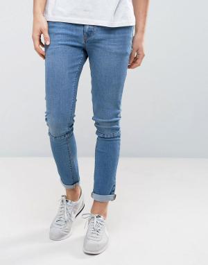 ASOS Синие выбеленные джинсы скинни со вставками. Цвет: синий