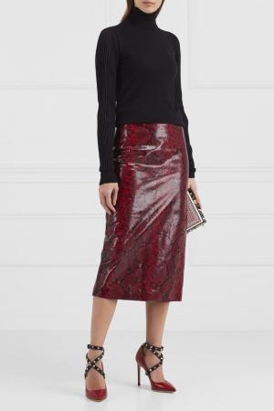 Кожаная юбка с принтом Rochas. Цвет: красный