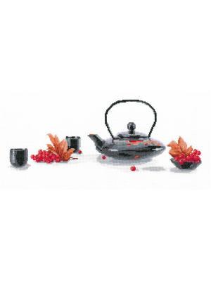 Рябиновый чай набор для вышивания 43х18 см NITEX. Цвет: черный, красный, серый