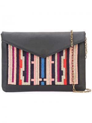 Клатч-конверт с вышивкой Lizzie Fortunato Jewels. Цвет: чёрный