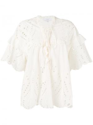 Блузка с вышивкой Iro. Цвет: телесный