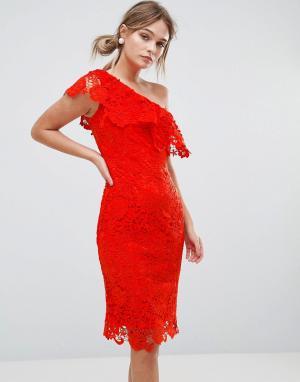 Paper Dolls Платье из кроше на одно плечо. Цвет: красный
