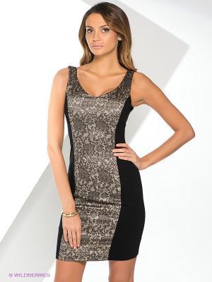 Платье Yuka. Цвет: темно-коричневый, бежевый