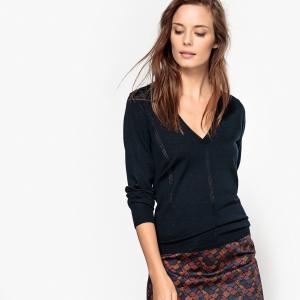 Пуловер с V-образным вырезом La Redoute Collections. Цвет: сливовый,темно-синий