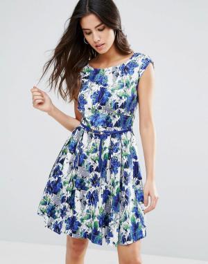 Louche Короткое приталенное платье с поясом Julita. Цвет: синий