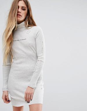 Criminal Damage Платье мини с высокой горловиной, потертостями и логотипом Da. Цвет: кремовый