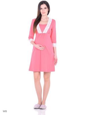 Сорочка женская для беременных и кормящих Hunny Mammy. Цвет: коралловый